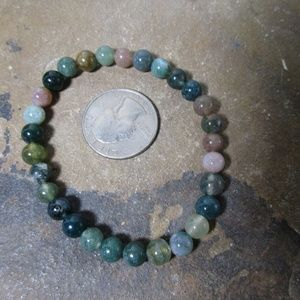 Jewelry - 1643 Green & pink Indian Agate stretch bracelet